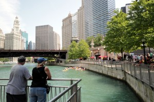 Along the Chicago Riverwalk Aug 5 2018 with ceremony about to begin