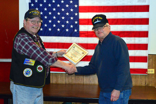 "Dick Anderson receives acknowledgement for being ""QUALIFIED IN SUBMARINES"" FOR 50 years."
