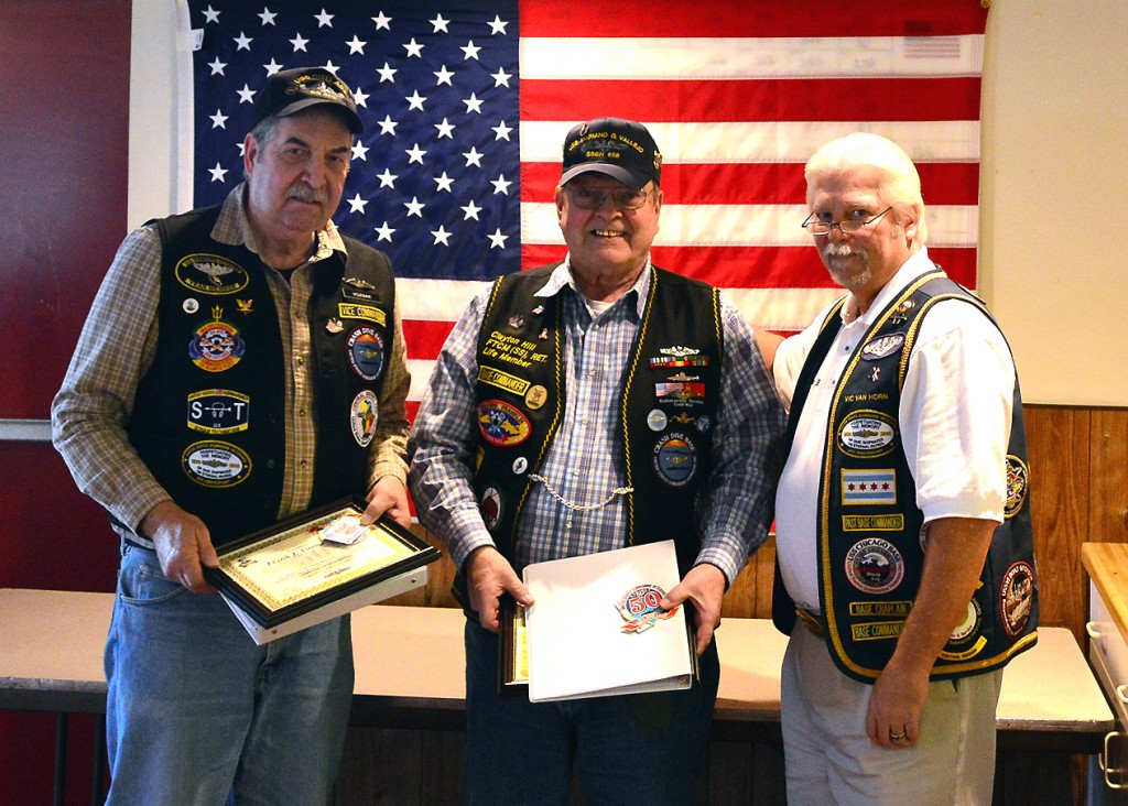 At the Dec Meeting, District Commander Vic VanHorn (right), officially announces Crash Dive Base's two newest members of the Holland Club, Commander Clayton Hill (center)and Past Vice Commander Frank Voznak (left)