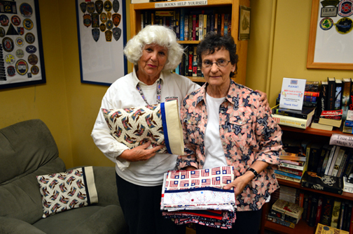 Joan Murphy, a volunteer at the USO O'Hare Center, and Mary Miller, co-ordinator of Pillow Case Project