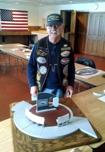 Gary Walters of Wisconsin Base, USSVI presents a scale model of the memorial to Crash Dive Base at our February meeting.  Model was made & donated by John Peroutka